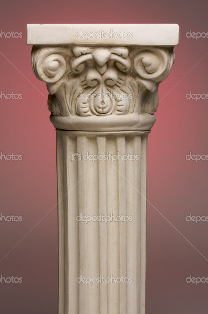 Ancient Column Pillar Replica on a Red Gradation Background. — Foto de Stock   #2351617