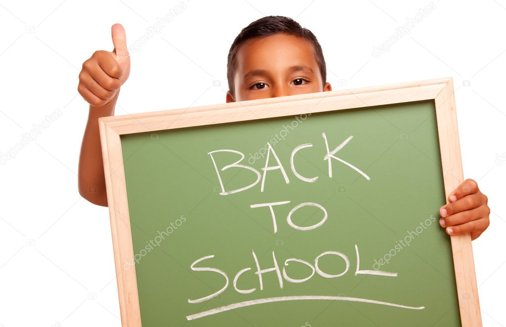 Cute Hispanic Boy Holding Chalkboard with Back to School Isolated on a White Background.  Stock Photo #2353398