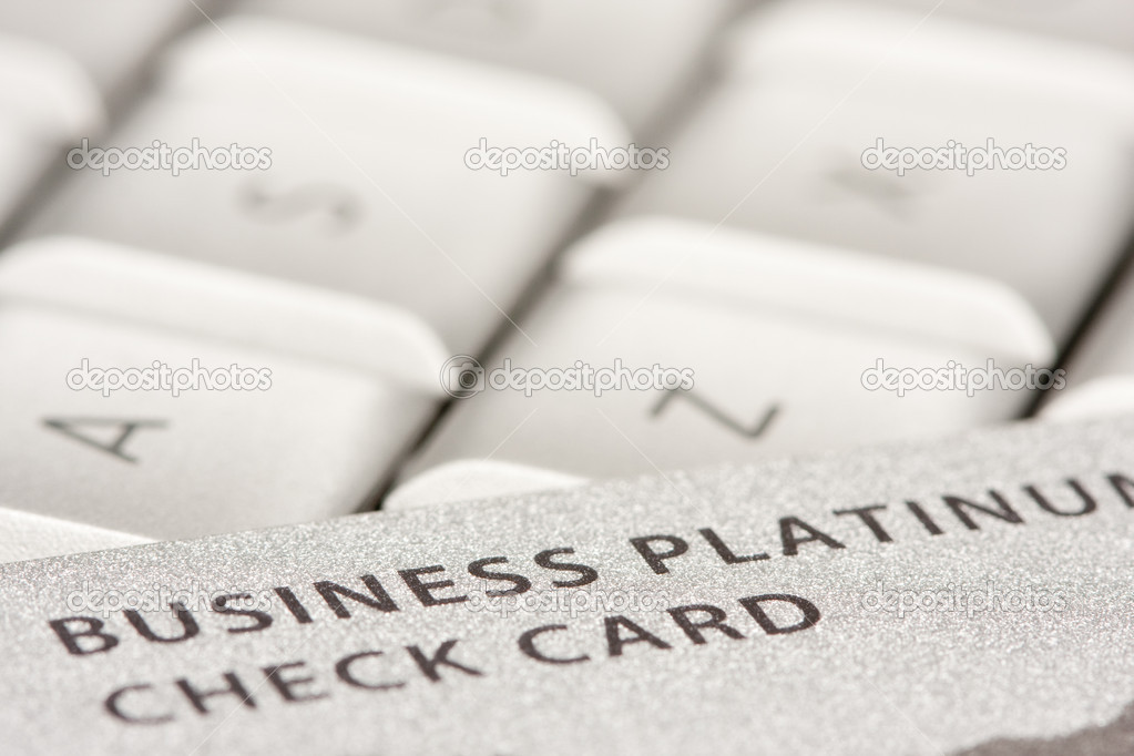Business Credit Card On Laptop with Narrow Depth of Field — Stock Photo #2355129