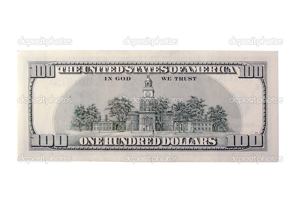 american 100 dollar bill back. U.S. One Hundred Dollar Bill