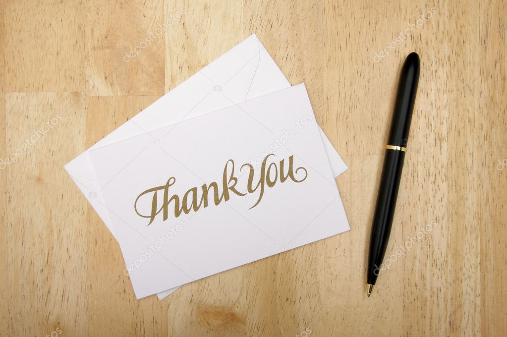 Thank You Note Card and Pen on Wood — Stock Photo © Feverpitch ...