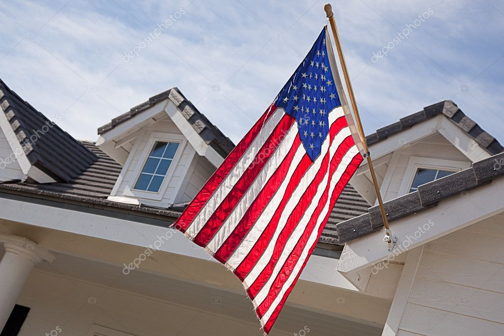 Abstract House Facade and American Flag Against a Blue Sky — Stock Photo #2358965