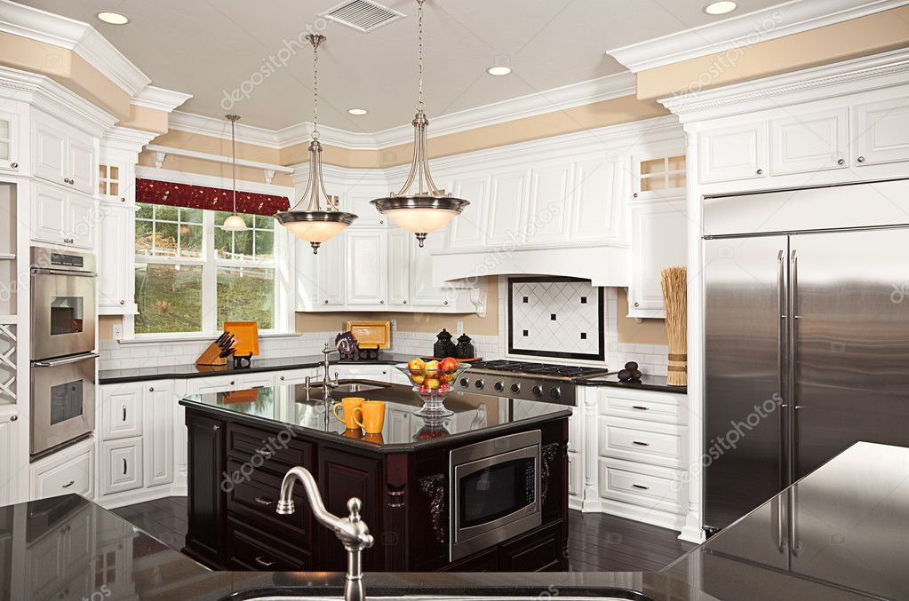 Beautiful Custom Kitchen Interior in a New House  Foto de Stock   #2359001