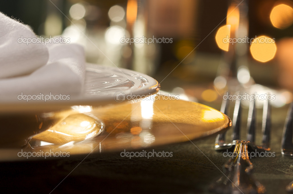 Elegant Dinner Setting Abstract Macro Background — Stok fotoğraf #2359917