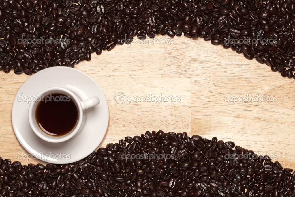 Dark Roasted Coffee Beans and Coffee Beans And Cup Background