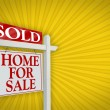 Sold Home for Sale Sign on Yellow Burst — Stock Photo