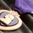 Stock Photo: Purple Heart War Medal on Camouflage