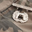 Foto de Stock  : Pistol Expert War Medal on Camouflage