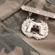 Pistol Expert War Medal on Camouflage — Stock Photo #2360814