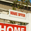Make Offer Real Estate Sign and Home — Stock Photo