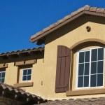 zusammenfassung des neuen home construction fassade — Stockfoto