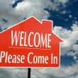 Welcome, Please Come In Sign Over Clouds — Stock Photo #2360860