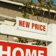 Stock Photo: New Price Real Estate Sign and House