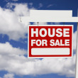 Stock Photo: Home For Sale Real Estate Sign on Clouds