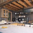 Fully Equipped Log Cabin Kitchen — Stock Photo