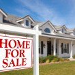 For Sale Real Estate Sign and House — Stock Photo