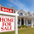 Sold Home For Sale Sign in Front of Home — Stockfoto #2360896
