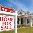Sold Home For Sale Sign in Front of Home — Stock Photo