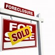 Red Sold Foreclosure Sign on White — Stock Photo #2360988
