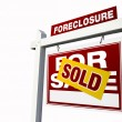 Red Sold Foreclosure Real Estate Sign — Stock Photo #2361023