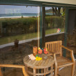 Stock Photo: Oceanfront Home Lanai with View Reflection