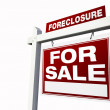 Stock Photo: Red Foreclosure Real Estate Sign