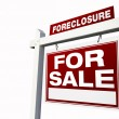 Red Foreclosure Real Estate Sign — Stock Photo #2367082