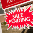 Stock Photo: Red Sale Pending Real Estate Burst Sign.