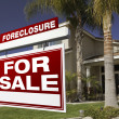 Red Foreclosure Sign and House — Stock Photo #2367378