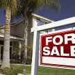 Red For Sale Real Estate Sign and House — Stock Photo