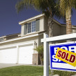 Blue Sold Real Estate Sign and New Home — Stock Photo #2367490