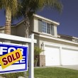Stock Photo: Blue Sold Real Estate Sign and New Home