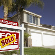 Red Foreclosure Real Estate Sign — Stock Photo #2367536