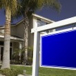 Blank Real Estate Sign in Front of House — Stock Photo