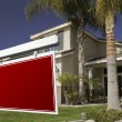 Stock Photo: Blank Red Real Estate Sign and House