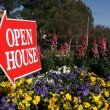 Open House Real Estate Sign in Flowers — Stock Photo #2367994