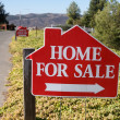 Home For Sale Signs Along Side Street - Stock Photo