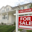 Foreclosure Home For Sale Sign and House - Stock Photo