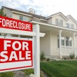 Foreclosure Real Estate Sign and House — Stock Photo #2368149