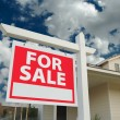 Home For Sale Sign and New Home — Stock Photo