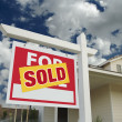 Sold Home For Sale Sign in Front of New — Stock Photo
