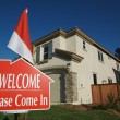Welcome, Please Come In Sign and House — Stock Photo #2368287