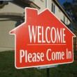Welcome, Please Come In Sign and House — Stock Photo #2368314