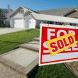 Sold Home For Sale Sign in front of Home — Stock Photo #2368339