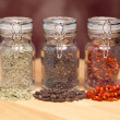 Glass Bottles of Various Cooking Spices — Stock Photo #2368354