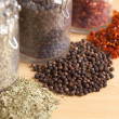 Glass Bottles of Various Cooking Spices — Stock Photo #2368384