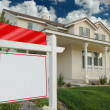 Blank Real Estate Sign in Front of Home — Stock Photo
