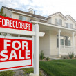 Foreclosure Real Estate Sign and House — Stock Photo #2368706