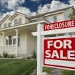Foreclosure Home For Sale Sign and House — Stock Photo #2368760