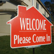 Welcome, Please Come In Sign and House — Stock Photo #2368803
